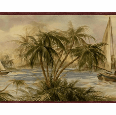 879596 Palm Trees Sailboats Wallpaper Border Burgundy HV6001b