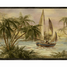 879597 Palm Trees Sailboats Wallpaper Border Black HV6002b