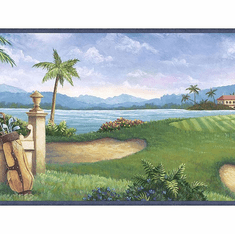 879598 Golf Scenic Wallpaper Border Blue HV6031b