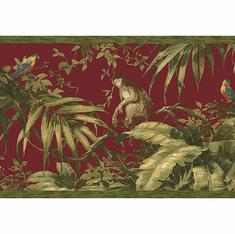 879599 Tropical Monkey Wallpaper Border Red HV6151b