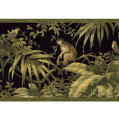 879600 Tropical Monkey Wallpaper Border Black HV6152b