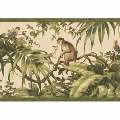 879601 Tropical Monkey Wallpaper Border Sage HV6154b
