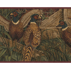 879605 Pheasant Wallpaper Border - Burgundy OA8101b