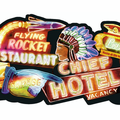 879606 Neon Signs Die-Cut Wallpaper Border - Black OA8111b