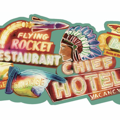 879607 Neon Signs Die-Cut Wallpaper Border - Vintage OA8112b