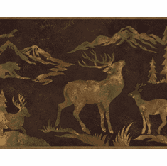 879608 Wildlife Silhouettes Wallpaper Border Brown OA8153b