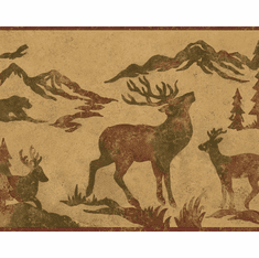 879610 Wildlife Silhouettes Wallpaper Border Golden Ochre OA8155b