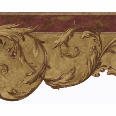 879612 Architectural Scroll Berry Die-Cut Border - Red Gold OA8212b