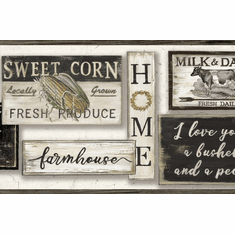 879646 Farm To Table Wallpaper Border Charcoal Grey LG1360bd