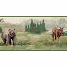 879653 Wilderness Moose Bear Deer Wallpaper Border LG1410bd