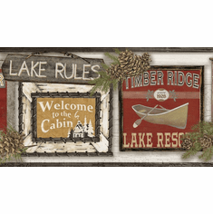 879654 Lake Rules Wallpaper Border Light LG1450bd
