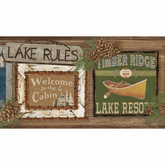 879655 Lake Rules Wallpaper Border Dark LG1451bd