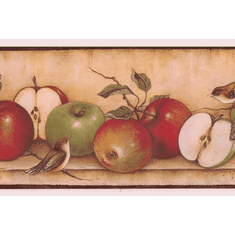 879662 Apples Across the Shelf with Birds Wallpaper Border MN5014