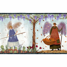 879671 Country Folkart Harvest Angels Wallpaper Border HA61141b