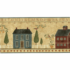 879675 Primitive Country House Wallpaper Border 92937FP