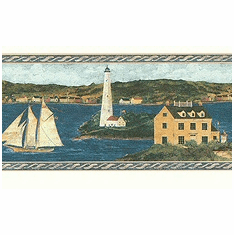879676 Sailboats and Lighthouses River Scene Wallpaper Border FDB06734