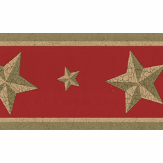 879678 Gold Barn Star on Red Wallpaper Border 75b56808