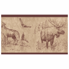 879685 Moose Buffalo Wolf Eagle Wallpaper Border 242B58390