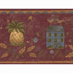 879686 Primitive Folk Art House Pineapple Wallpaper Border 245b57456