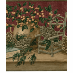 879687 Pinecone Shelf Basket Wallpaper Border b29603