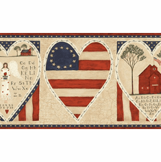 879689 Patriotic Schoolhouse Angel Wallpaper Border HAH15111b