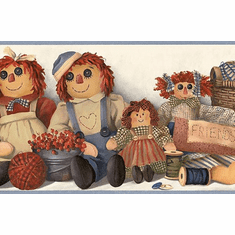 879700 Raggedy Ann and Andy Wallpaper Border GU92301b