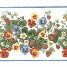 879703 Strawberry Flower Vine and Pansy Wallpaper Border 12773