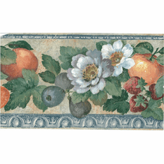 879706 Distressed Fruit and Flower Wallpaper Border 330b01758