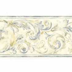 879710 Acanthus Scroll Blue Green Yellow Wallpaper Border 82b66121