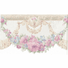 879714 Scalloped Floral Satin Wallpaper Border FDB02001