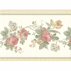 879715 Satin Floral Wallpaper Border b5175