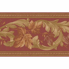 879716 Satin Leaf Scroll Trail Wallpaper Border 71b06623