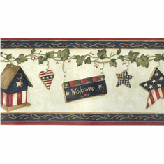 879719 Americana Country Hearts Birdhouse Wallpaper Border MN5001