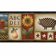 879721 Americana Country Stars, Sunflowers, Pigs Wallpaper Border MN5009