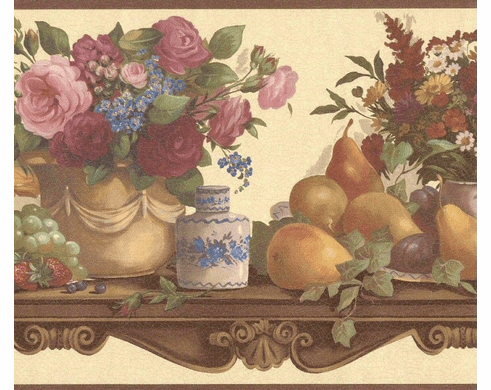 879728 Victorian China Fruit Flowers on Shelf Wallpaper Border 86292fp
