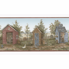879736 Heart of the Country Outhouse Shed Wallpaper Border FDB50166