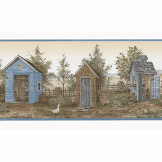 879737 Heart of the Country Outhouse Shed Wallpaper Border FDB50167