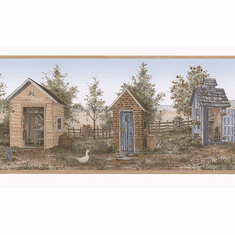 879738 Heart of the Country Outhouse Shed Wallpaper Border FDB50168