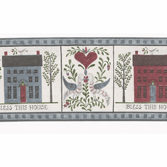 879740 Bless This House Primitive Country Wallpaper Border FDB50172
