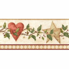 879742 Country Folkart Hearts & Stars Wallpaper Border FDB50175
