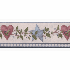 879743 Country Folkart Hearts & Stars Wallpaper Border FDB50176