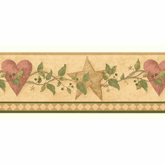879744 Country Folkart Hearts & Stars Wallpaper Border FDB50177