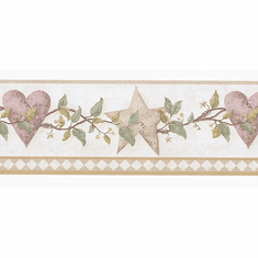 879745 Country Folkart Hearts & Stars Wallpaper Border FDB50178