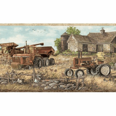 879752 Oakley Countryside Tractor Farm Scene Wallpaper Border CTR63162B