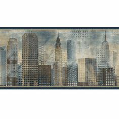 879753 Blake Skyline Blue Wallpaper Border MAN01821b