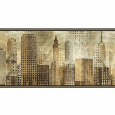 879754 Blake Skyline Brown & Gray Wallpaper Border MAN01822b