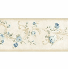 879756 Blue Tearose Acanthus Wallpaper Border CKB77912b