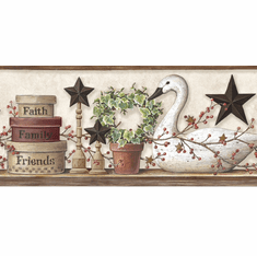879759 Swan and Ivy Collage Wallpaper Border PUR44633b
