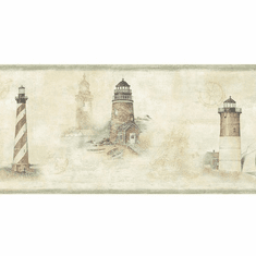 879761 Chapin Green Sunset Waters Lighthouse Wallpaper Border DLR53501b