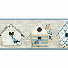 879766 Cottage Chic Birdhouses Blue Wallpaper Border CCB2241